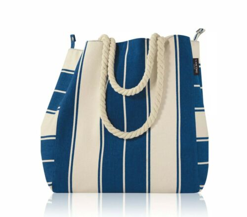 "Lancome Signature Canvas Tote Bag BLUE /& WHITE Strips 13 x 14 x 5 /"""