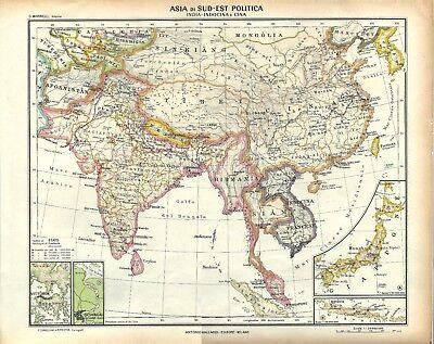Cina E Giappone Cartina Geografica.Carta Geografica Antica Asia India Indocina Cina E Giappone 1939 Old Antique Map Ebay