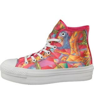 Da Donna Converse CT All Star Platform Hi Scarpe da ginnastica Pink/Multi UK 5