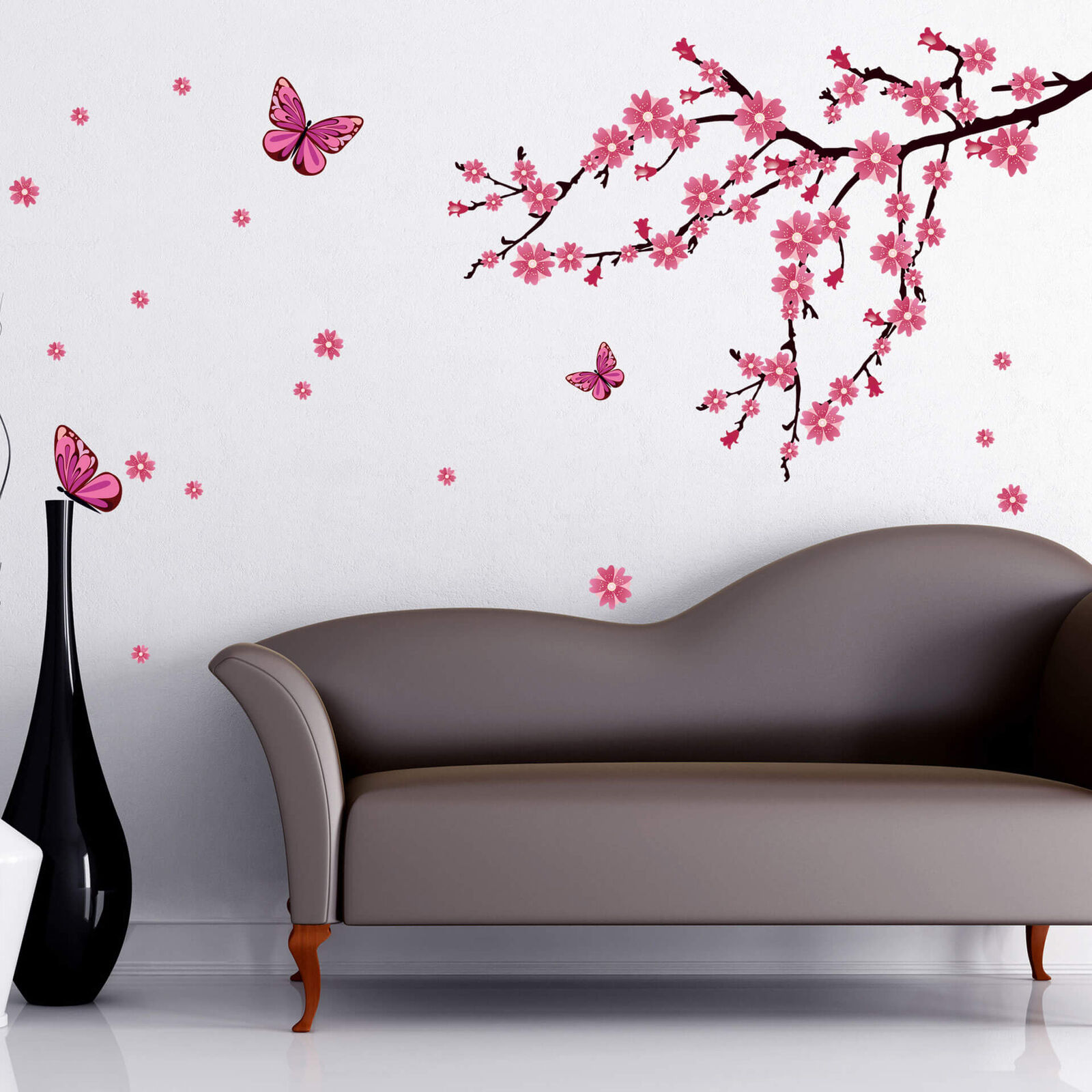 Wandtattoo Kirschblüten mit Schmetterlingen Wandbild Wandaufkleber Wandfolie
