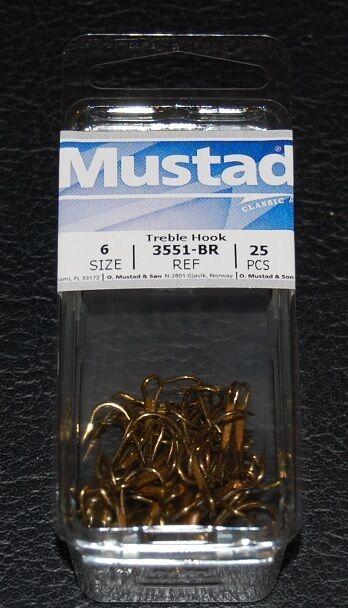 25 Pack Mustad 3551 Size 12 Nickel Ringed Style Treble Hook Hooks