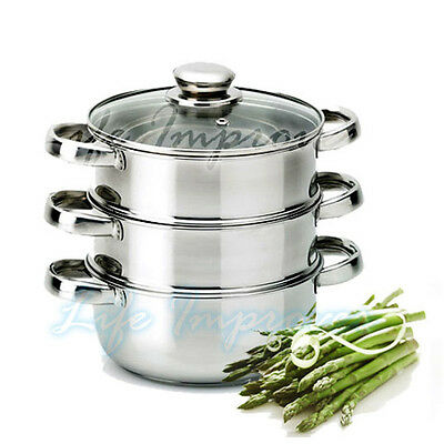 3PC 22CM STAINLESS STEEL FOOD STEAMER SET GLASS LID 3 TIER KITCHEN PAN COOKWARE