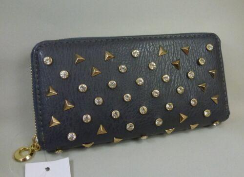 NEU Damen Strass Nieten Geldbörse Portemonnaie Clutch Glitzer dunkel grau gold