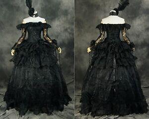 h-331-BLACK-Vittoriano-Gotico-Cosplay-Vestito-Vestito-costume-costume-su-misura