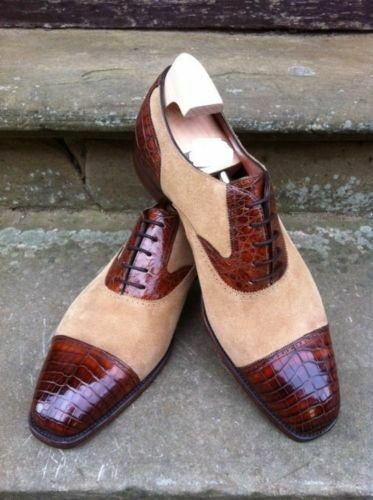 MENS NEW HANDMADE PURE LEATHER & SUEDE CROCODILE TEXTURE FORMAL schuhe
