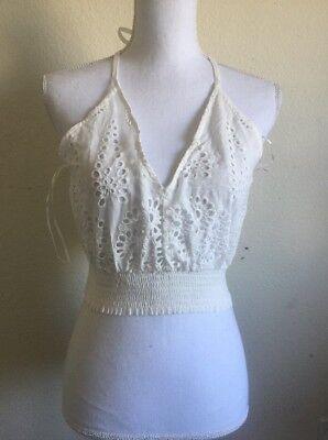 Strappy Halter Neck Tie Back Floral Applique Crochet Patterned Bralette Crop Top