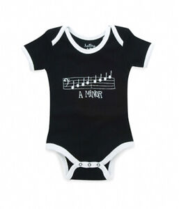 Hatley 'A Minor' Music Theme Baby One Piece Outfit, 18-24mo, black and white