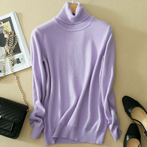 Women/'s Slim Knitted Jumper Pullover Elasticity cozy Sweater Turtleneck Cashmere