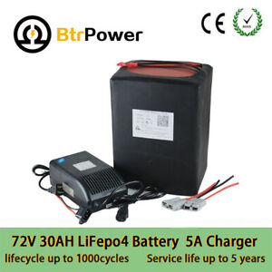 24S 72v 30Ah LiFePo4 Battery Pack for E-bike E-scooter 2500W Motor +5A Charger