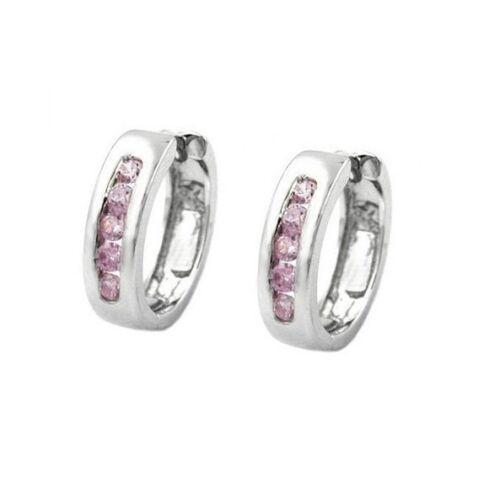 Creolen,Klappcreolen,Ohrringe mit Zirkonia Farbe rosé,rosa Silber//925 rhod