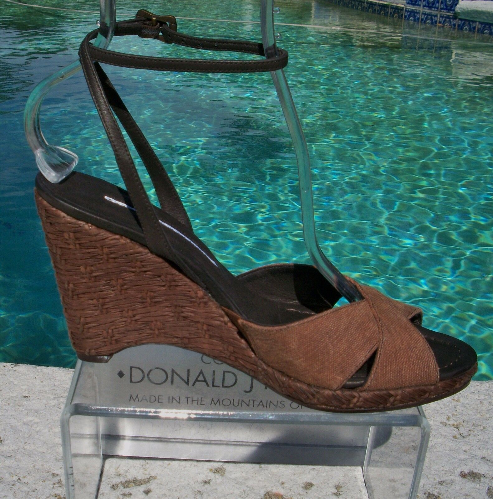 Donald Pliner Couture Leather Leather Leather Wedge shoes New Cork Heel Sandal Slide 10  375 NIB b8e0b1