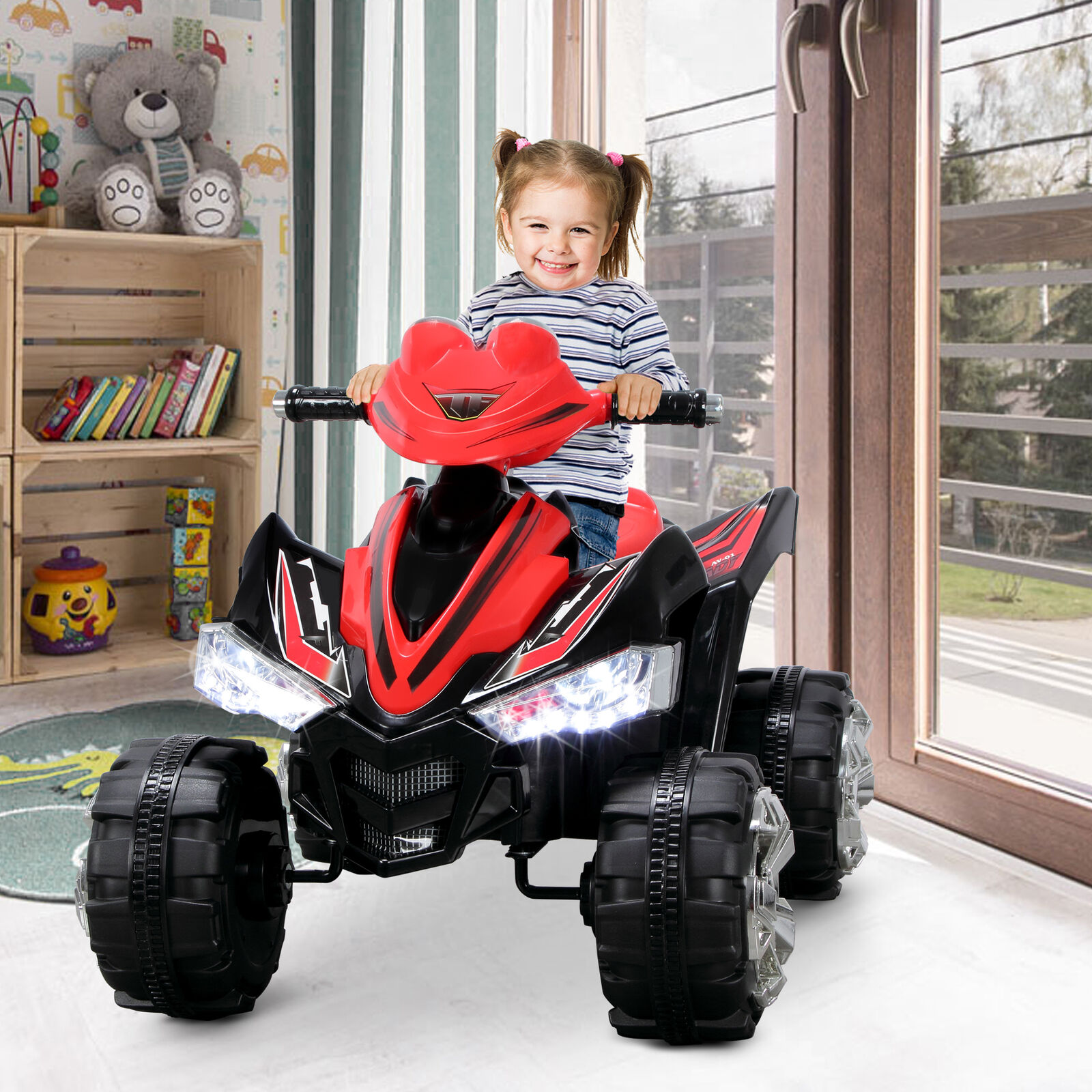 Kids ATV Quad 4 Wheeler Ride On with 12V Battery Power Electric LED Lights, Red
