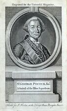 SIR GEORGE POCOCK, Admiral of the Blue Squadron antique portrait print 1758