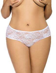 Ruffled-lace-and-fine-mesh-Crotchless-underwear-Plus-size-14-to-24-White