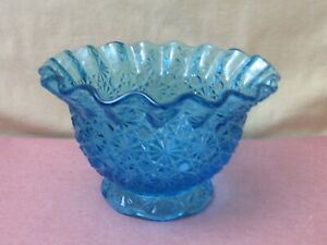 Vintage-Blue-Pressed-Glass-Bowl-Candy-Dish-Daisy-Design