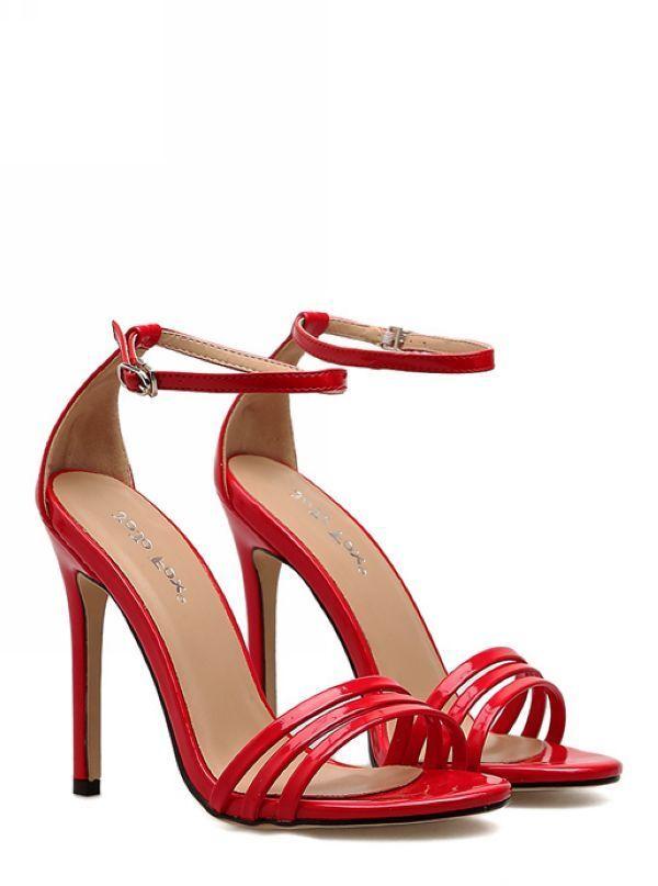 Sandali stiletto eleganti sabot 11 cm rosso lucido simil pelle eleganti 8580