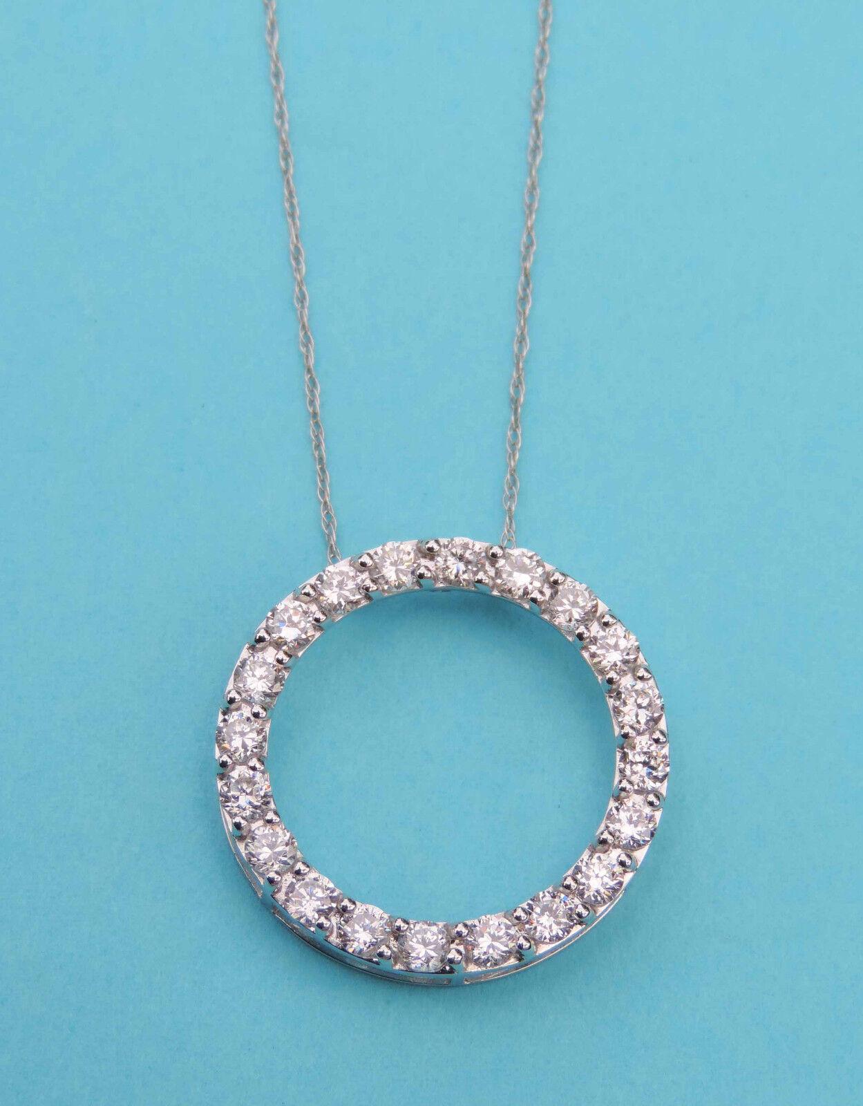 Ladies Circle Pendant w  20 Man-Made White Diamonds - 10K White gold Chain
