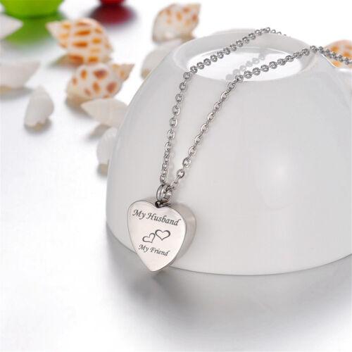 1x Custom Engraved Words Heart Cremation Jewelry Keepsake Memorial Urn Necklace