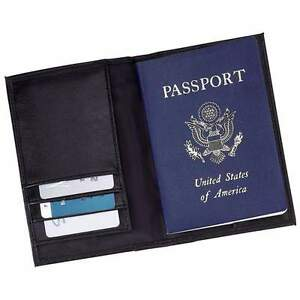 Solid-Black-Genuine-Leather-Passport-Cover-Men-or-Womens-Travel-ID-Card-Wallet
