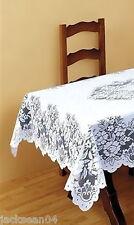 "SUPERB WHITE HEAVY LACE TABLE CLOTH 48"" SQUARE ***FIL***"