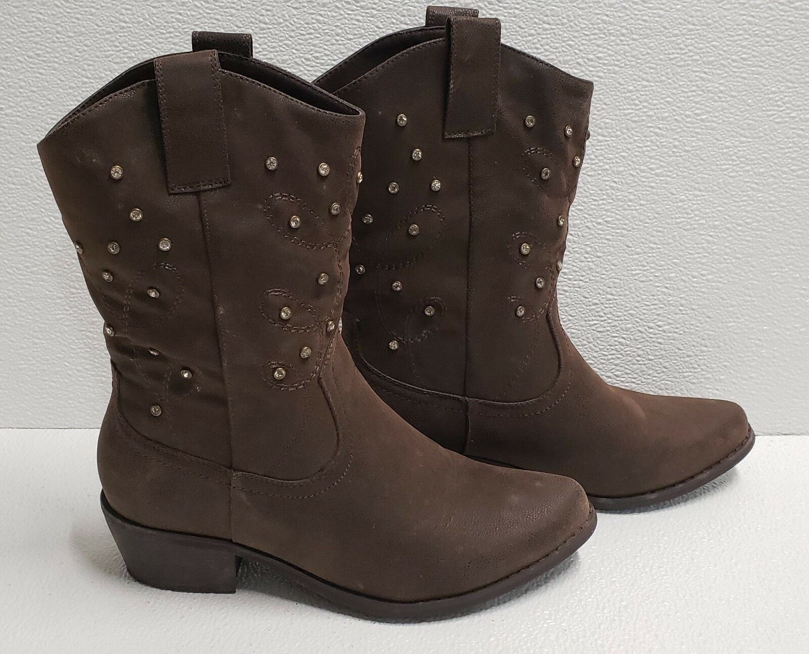Boots Cowboy Chocolate Brown Jewel Rhinestone Leather Suede Calf Women Size 7.5