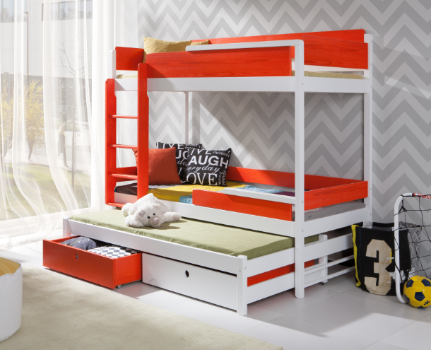 Bunk Bed Natu 3 With Mattresses Triple Bed For Kids Bedroom Custom