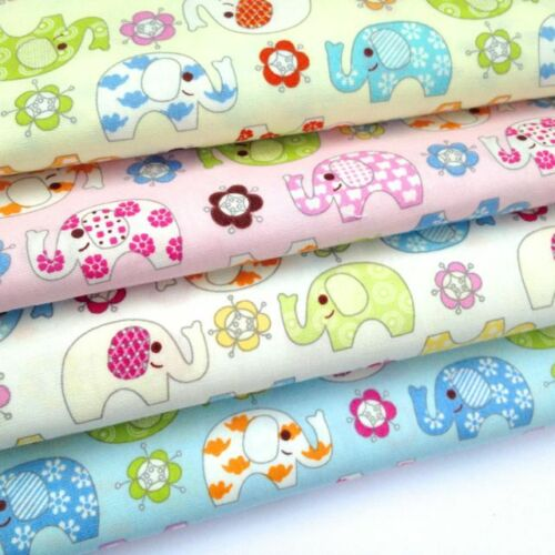 PER FQ or 1//2 metre NELLIE  Elephant childrens//nursery 100 /% cotton fabric
