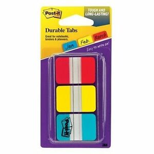 Post-it-Durable-Index-Tab-Write-on-1-Pack-Red-Blue-Yellow-Tab-686RYBT