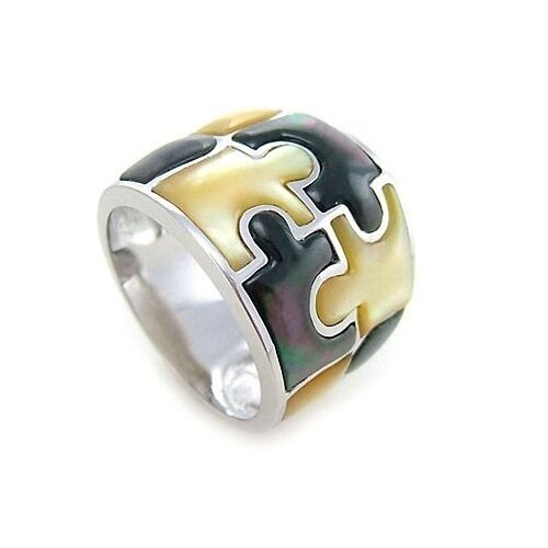 Brand New Sterling Silver 925 2 Tone Coloured Shell Mother of Pearl JigSaw Ring
