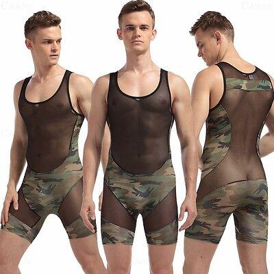 Men's Sexy Body Shaping Camouflage Green Fitness Leotard Mesh Black Bodysuit New