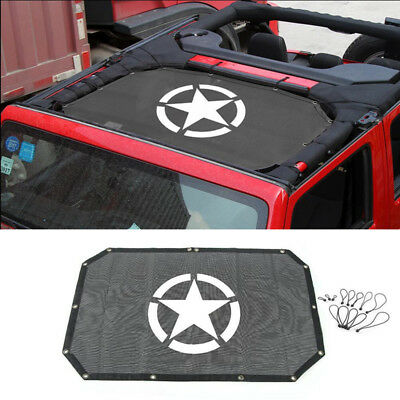 Sunshade Top Cover UV Protection Five Star Roof Mesh fits 07-18 Jeep Wrangler JK