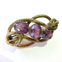 Antique Victorian Amethyst Glass Paste Lovers Knot Brooch