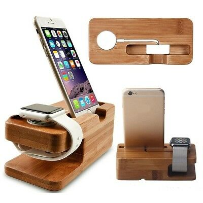1x Wood Holder Bracket Watch Cradle Stand Charging Dock Station for Smart Phone