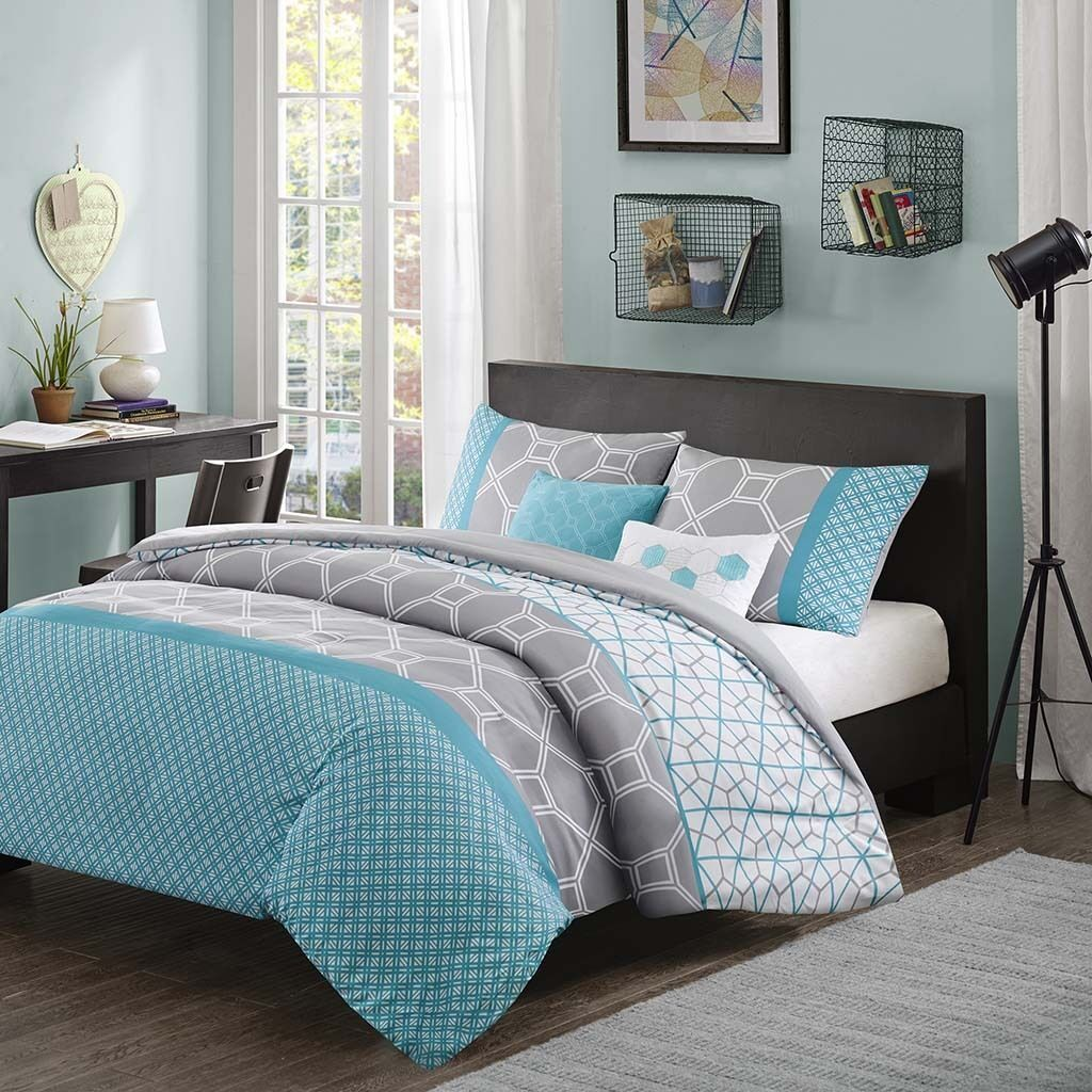 MODERN Blau AQUA TEAL grau GEOMETRIC STRIPE SPORT SOFT COMFORTER SET & PILLOWS