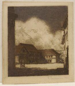 """"""" Ferme Lors De Aube Avec Personnes """" Rad. Sign.r.edelmann 1911"""