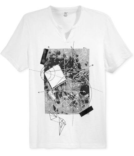 Large White I-N-C Mens Geometric Map Graphic T-Shirt