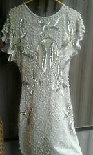 In Vogue 100% Pure Silk White Silver Sequin Beaded Cocktail Dress New Years Xmas