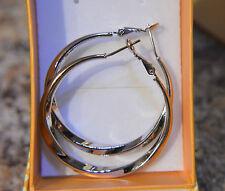 Lovely 18ct/18k White Gold Filled Twist Pattern 4cm/40mm Hoop Earrings