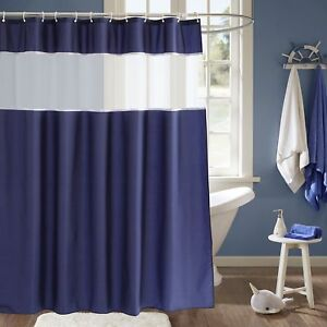 Image Is Loading Navy Blue And White Shower Curtain Fabric Shower