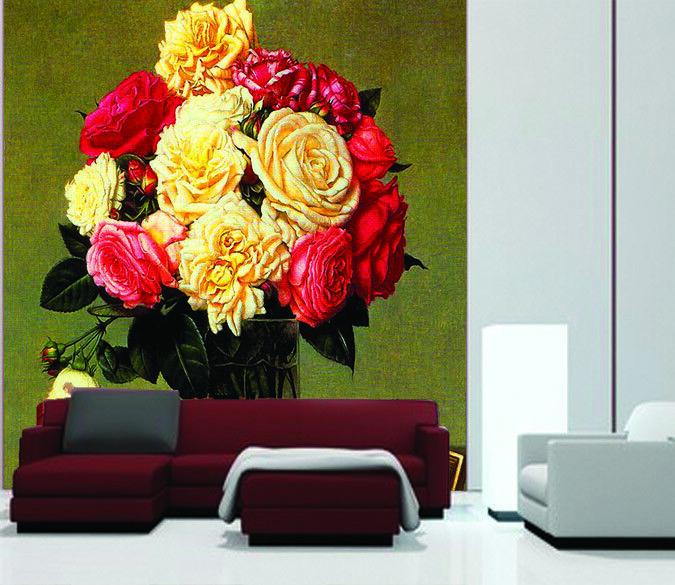 3D Rose Blumen Tabelle 744  Tapete Wandgemälde Tapete Tapeten Bild Familie DE