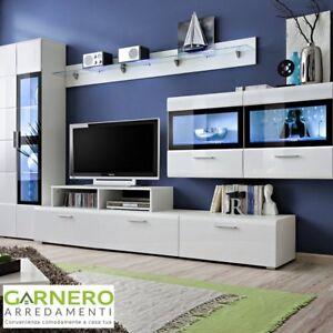 Parete attrezzata soggiorno TORONTO bianco design moderno living ...