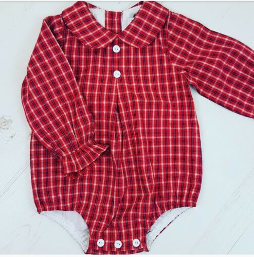 Spanish Style baby romper boy girl peter pan  3m 6m 9m 12m 18m 2y 3y Red Tartan