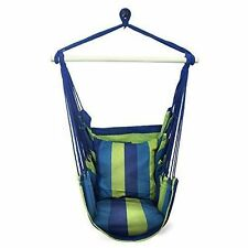 Hammock Hanging Rope Chair Patio Camping Porch Swing Seat Portable Blue Stripe