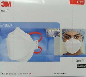 10x 3M Aura 1863+ NR D FFP3 ohne Ventil Atemschutzmaske Mundschutz Staub Maske