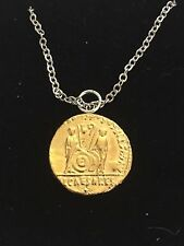 """Aureus Of Augustus Coin WC79 Gold Pewter On a 16"""" Silver Plated Chain Necklace"""