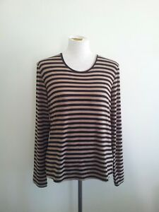 Effortless-Style-Blue-Illusion-size-M-striped-top-in-excellent-condition