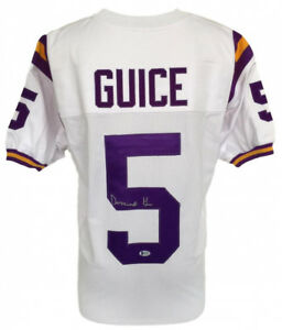 the best attitude 4fbf8 47384 Details about Derrius Guice Signed LSU Tigers White Jersey (Beckett)  Redskins Running Back