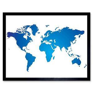 World Map Blue White 12X16 Inch Framed Art Print | eBay