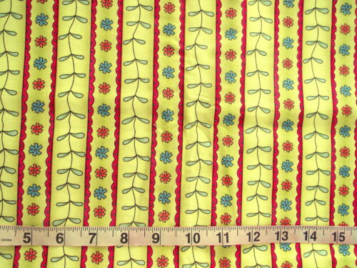 "1 1//2 yd 100/% Cotton /""Paisley Parade/"" Henry Glass Fabrics Stripes w//Flowers"