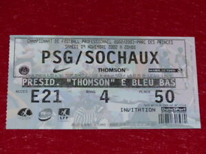COLLECTION-SPORT-FOOTBALL-TICKET-PSG-SOCHAUX-9-NOVEMBRE-2002-Champ-France